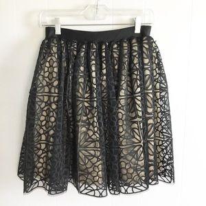 Bebe Lace Black Skirt Size M Floral Design